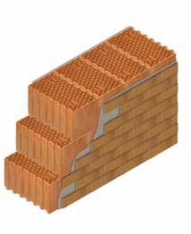 Кладка стены из керамических блоков KERAKAM 44 со штукатуркой и клинкерной плиткой