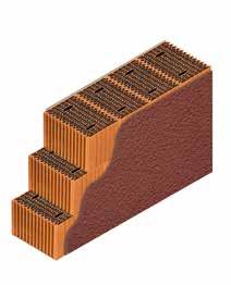 Кладка стены из керамических блоков KERAKAM 38 с декоративной фасадной штукатуркой