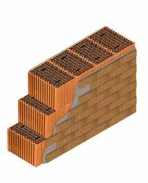 Кладка стены из керамических блоков KERAKAM 38 со штукатуркой и клинкерной плиткой